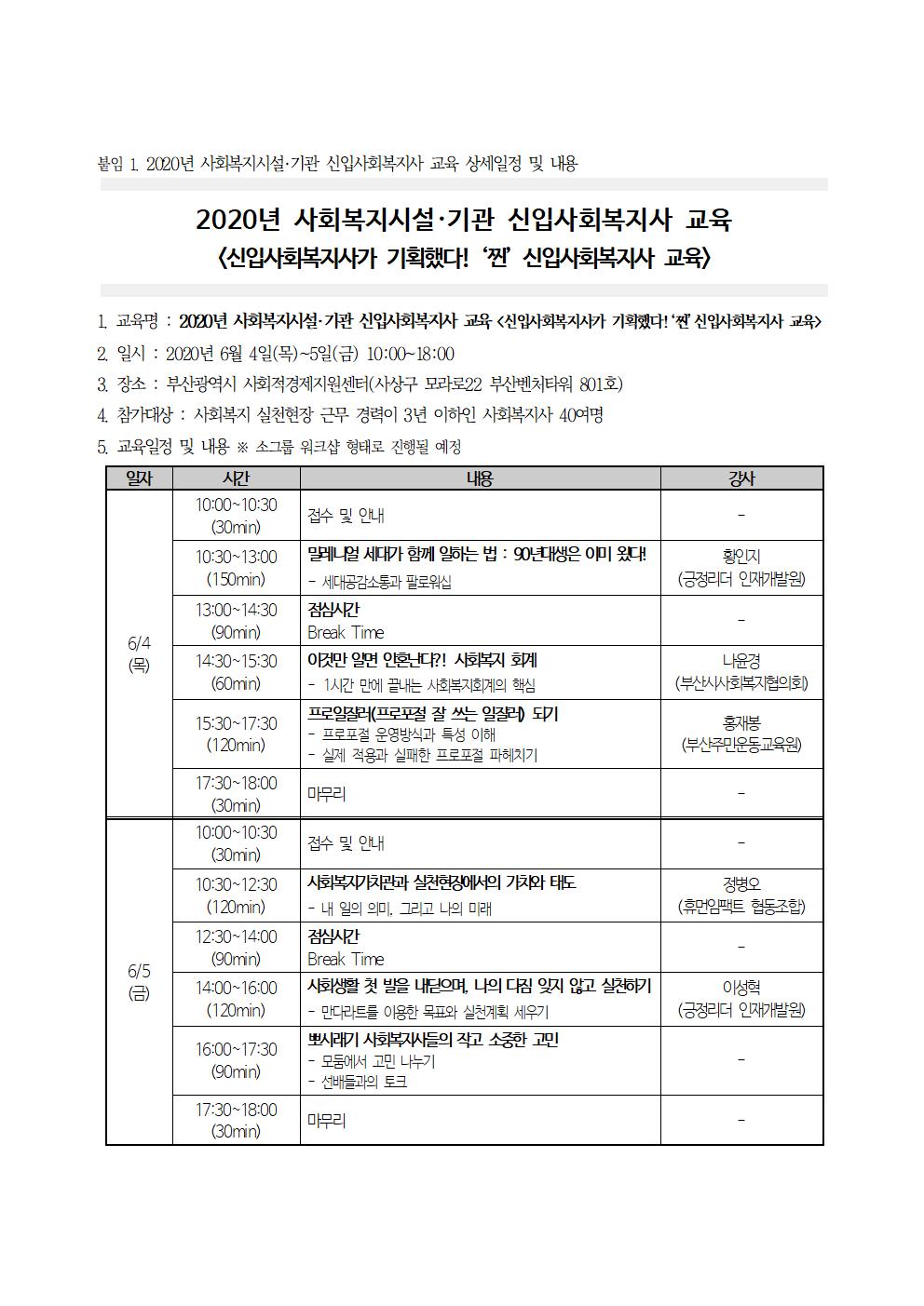 붙임1. 2020년 사회복지시설·기관 신입사회복지사 교육 상세일정 및 내용.png